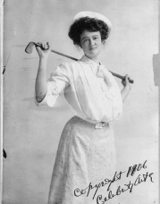 Photo: Golf girl,young woman holding a golf club behind her shoulders,c1906,women,sport