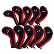 10 Golf Clubs Iron Set Headcovers Head Cover Red/Black / Machine Washable, Zipper-designed Protective Cover with Numbers for Identifcation