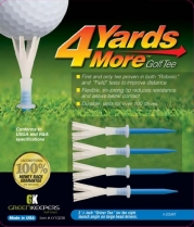 4 More Yards Plastic Golf Tees - 3 1/4 - Blue (4 Tees)