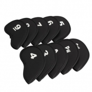 Vktech 10pcs Golf Head Cover Club Iron Putter Head Protector Set Neoprene Black