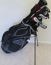 Left Handed Callaway Mens Golf Set Regular Flex Complete Driver, Fairway Woods, Hybrid, Irons, Putter, Stand Bag