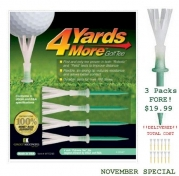 4 Yards More Golf Tee (4) 3 Pack (12 Tees) Special Offer $12.99
