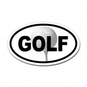 Golf Ball on Tee Oval Sticker Sticker Oval by CafePress - White