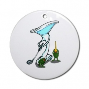 Martini Golf with Tee Ornament Round Round Ornament by CafePress
